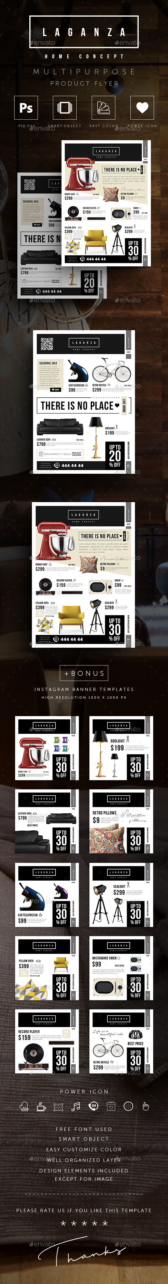 GraphicRiver Multipurpose Product Sales Flyer and Instagram Banner Templates 20646085
