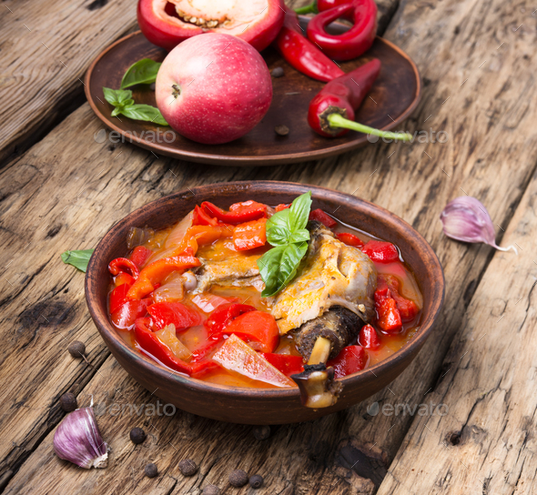 lecso dish of Hungarian cuisine - Stock Photo - Images