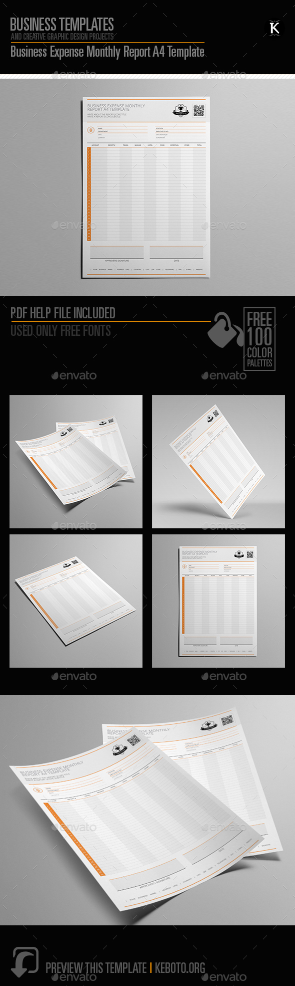 Business Expense Monthly Report A4 Template - Miscellaneous Print Templates