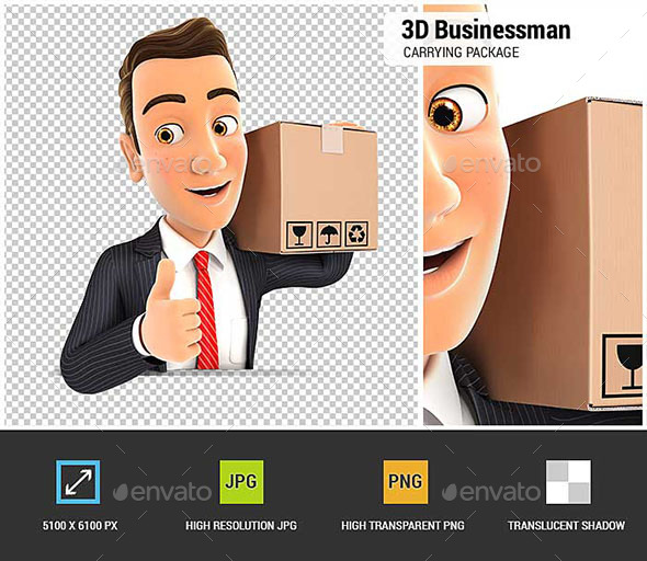 GraphicRiver 3D Businessman Carrying Package with Thumb Up 20646803