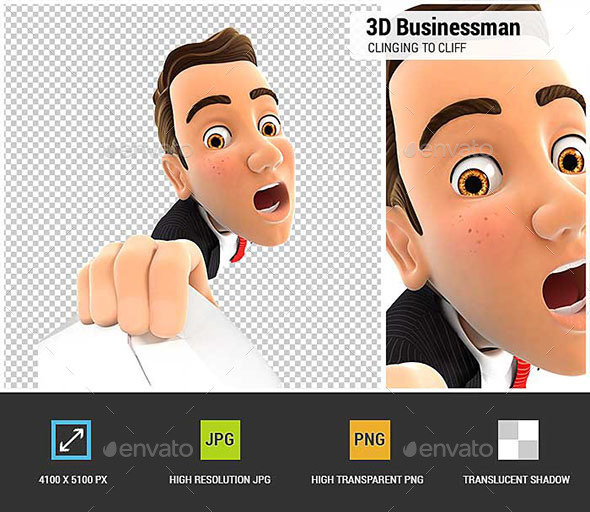 3D Businessman Clinging to a Cliff - Characters 3D Renders