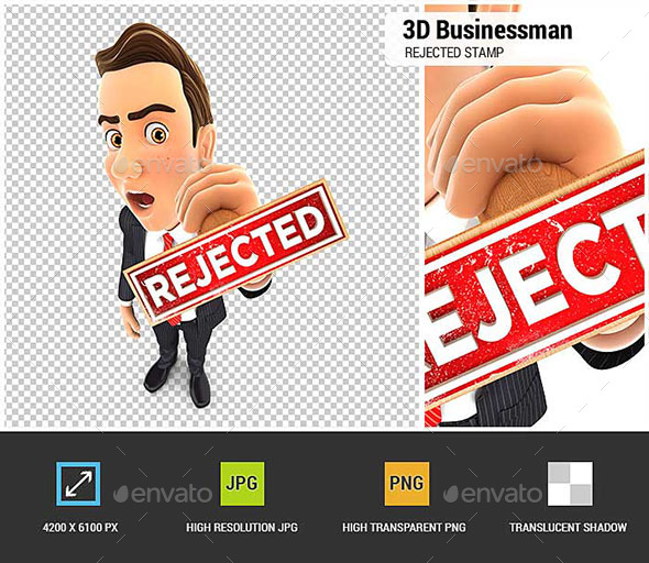 GraphicRiver 3D Businessman Rejected Stamp 20646813