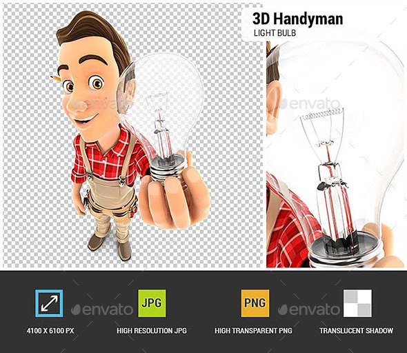 GraphicRiver 3D Handyman Holding a Light Bulb 20646819