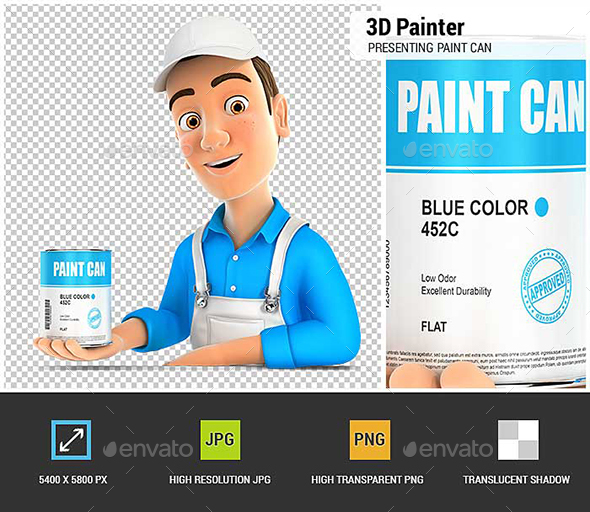 3D Painter Presenting Paint Can - Characters 3D Renders