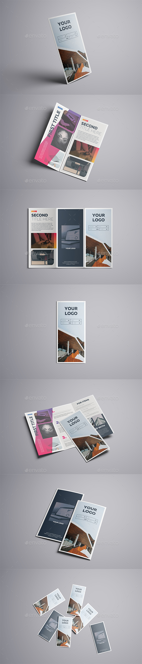 Gradient Trifold A4 Template - Brochures Print Templates