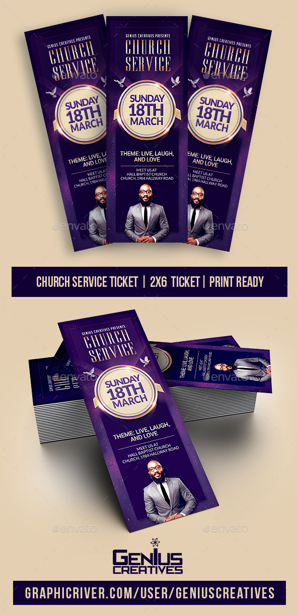 Church Service Ticket Template - Miscellaneous Print Templates
