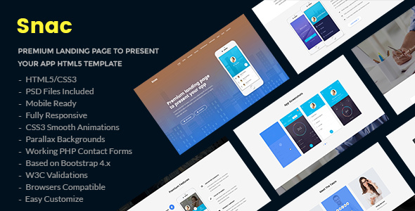 Snac - Premium Responsive App Landing Page HTML5 Template