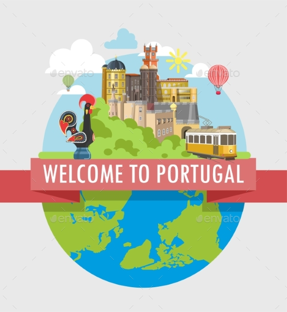 Welcome To Portugal Travel Poster of Vector - Animals Characters