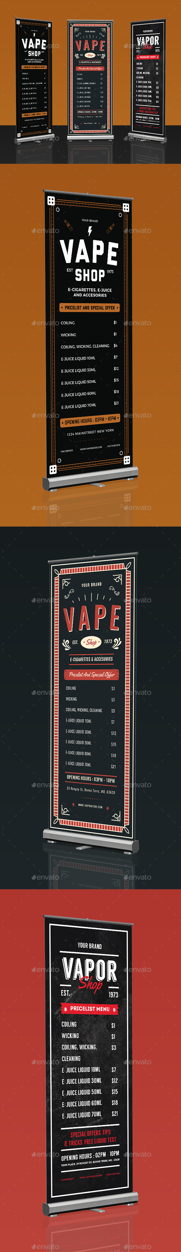 Vape Shop Roll Up Banner Bundle - Signage Print Templates