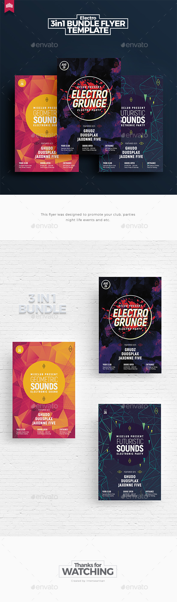 Electro Bundle 7 - Flyer Template - Clubs & Parties Events