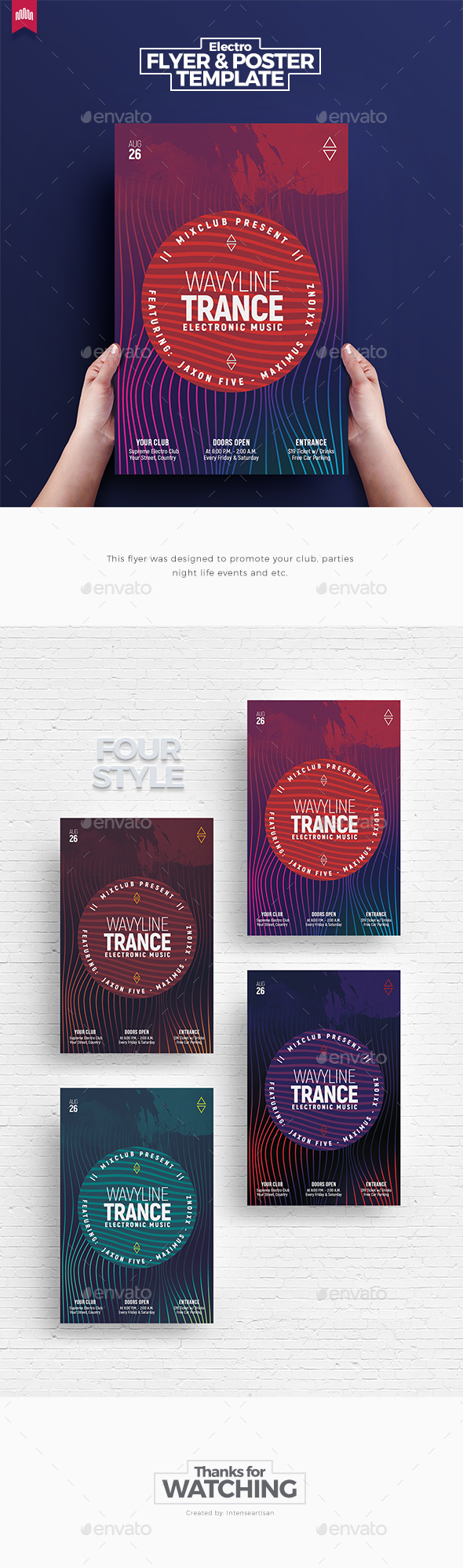 GraphicRiver Wavy Line Trance Flyer 20647759