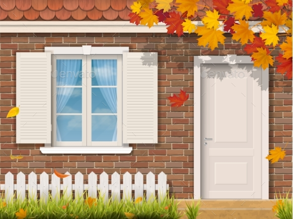 GraphicRiver Brick House Facade in Autumn Season 20647988