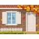 Brick House Facade in Autumn Season - GraphicRiver Item for Sale