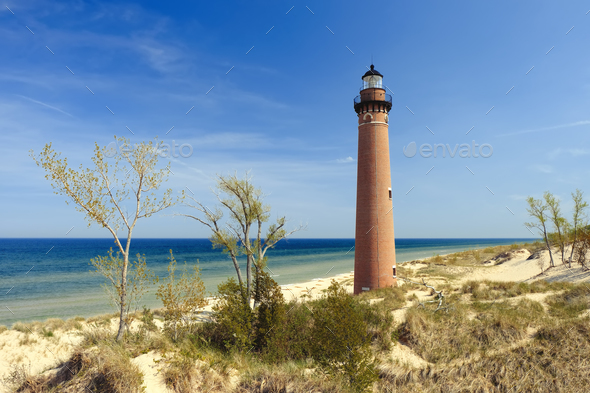 Little Sable Point Lighthouse in dunes, built in 1867 - Stock Photo - Images