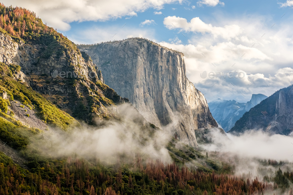 Yosemite Valley at cloudy autumn morning - Stock Photo - Images