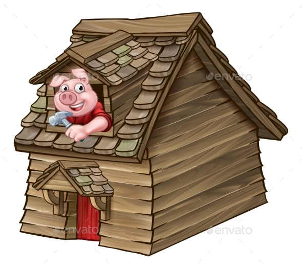 GraphicRiver Three Little Pigs Fairy Tale Wood House 20648094