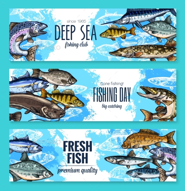 Vector Banners for Fishing or Fish Sea Life - Animals Characters
