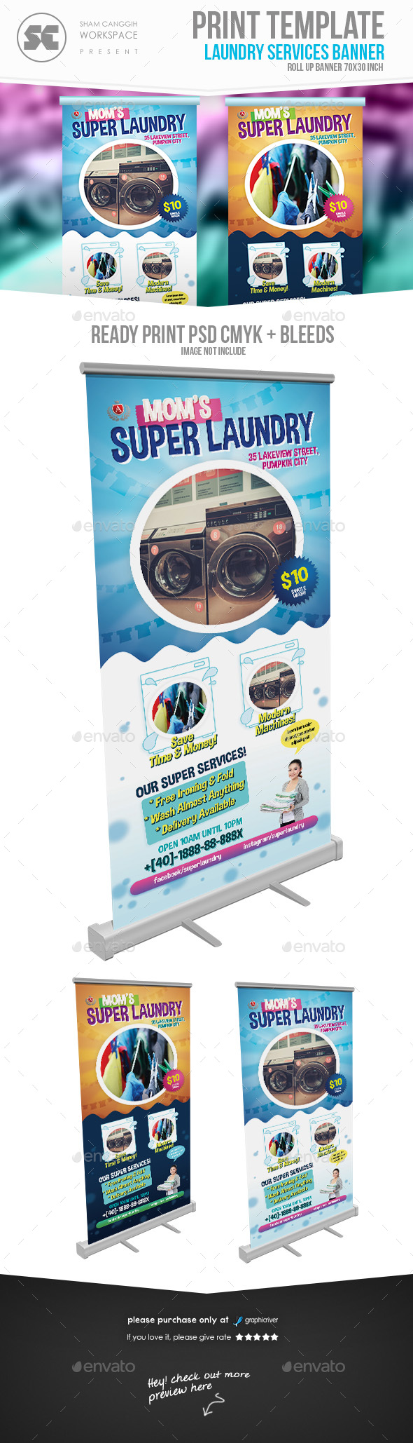 Washing / Laundry Services Banner - Signage Print Templates