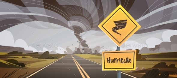GraphicRiver Road Sign Warning About Tornado 20648183