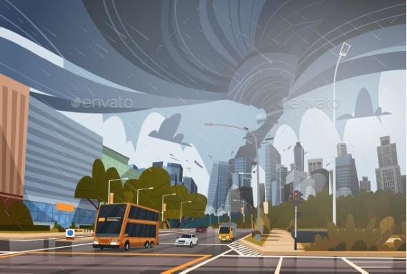 Swirling Tornado in City Destroy Buildings - Landscapes Nature