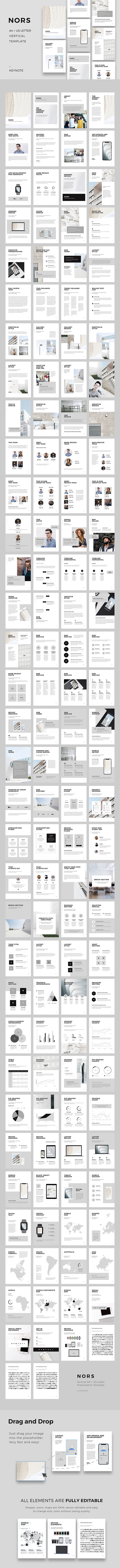 NORS A4 US Letter Vertical Keynote Template - Creative Keynote Templates