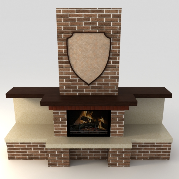 Open brick fireplace - 3DOcean Item for Sale