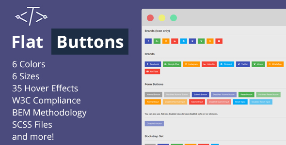 Flat Buttons - Modern & Multipurpose Options - CodeCanyon Item for Sale