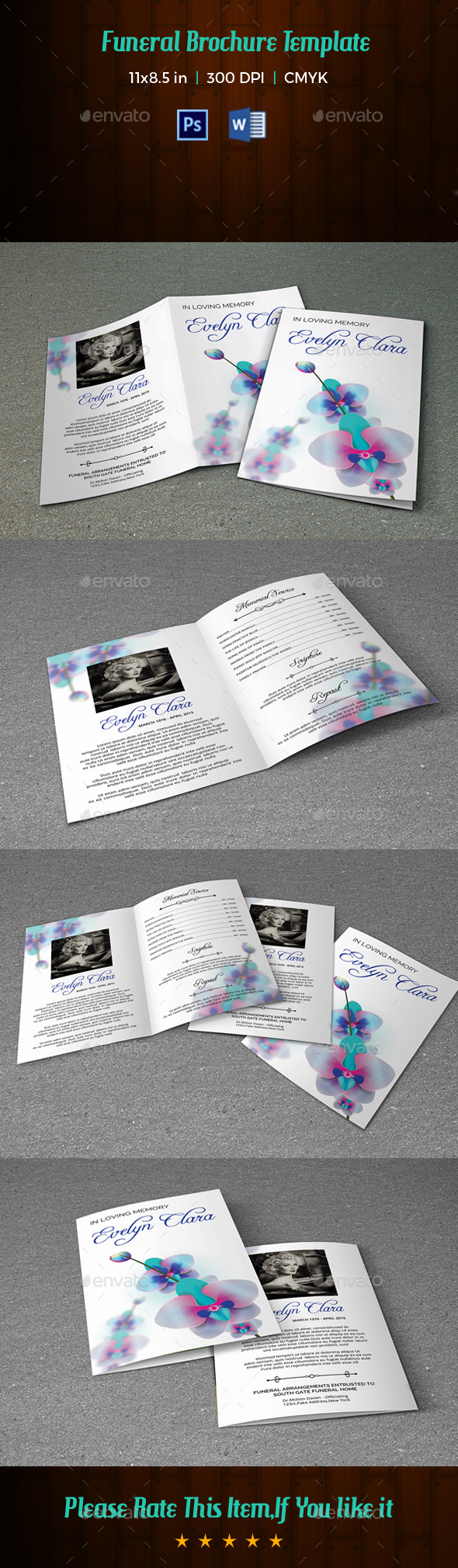 Funeral Program Template V197 - Informational Brochures