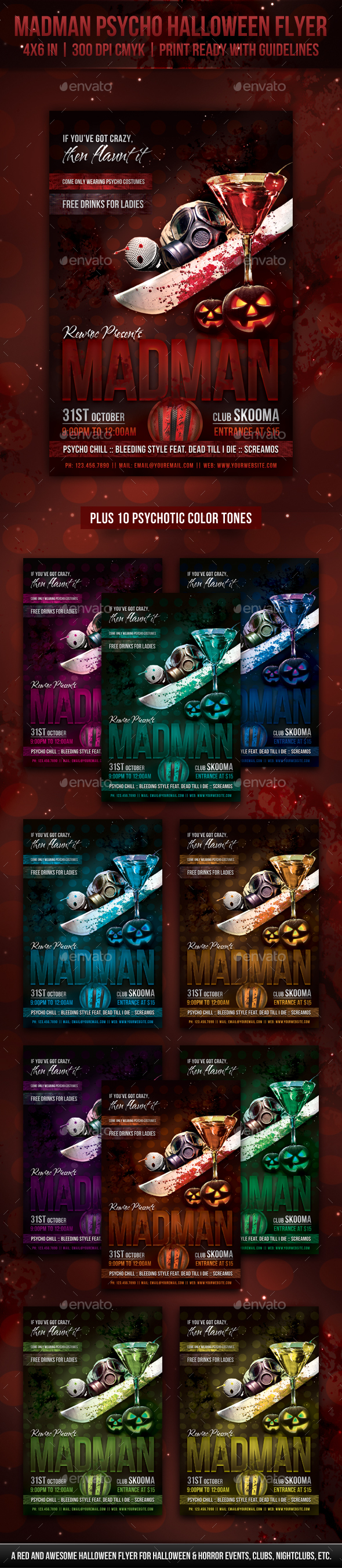 GraphicRiver Madman Psycho Halloween Flyer 20648678