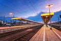 Beautiful night industrial landscape, modern railway station - PhotoDune Item for Sale