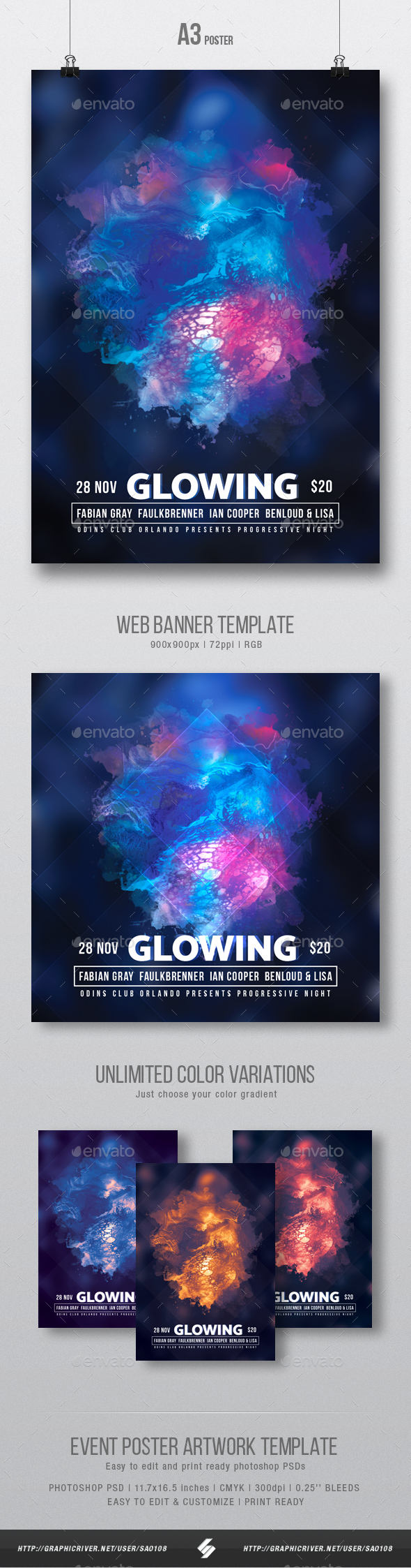 Glowing - Progressive Party Flyer / Poster Artwork Template A3 - Clubs & Parties Events