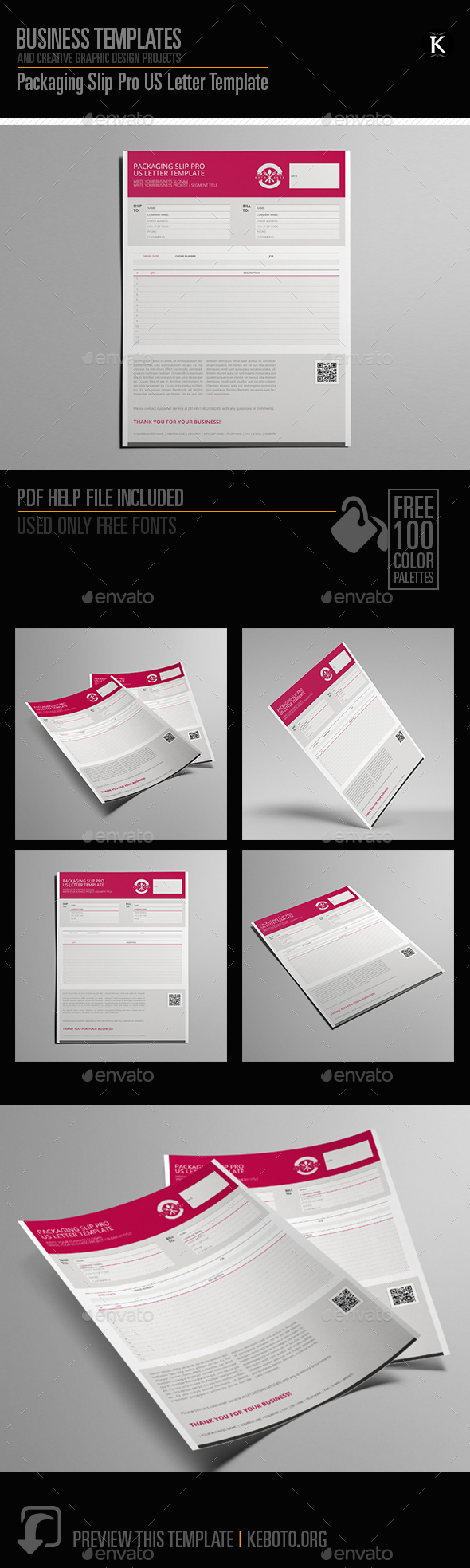 GraphicRiver Packaging Slip Pro US Letter Template 20649147