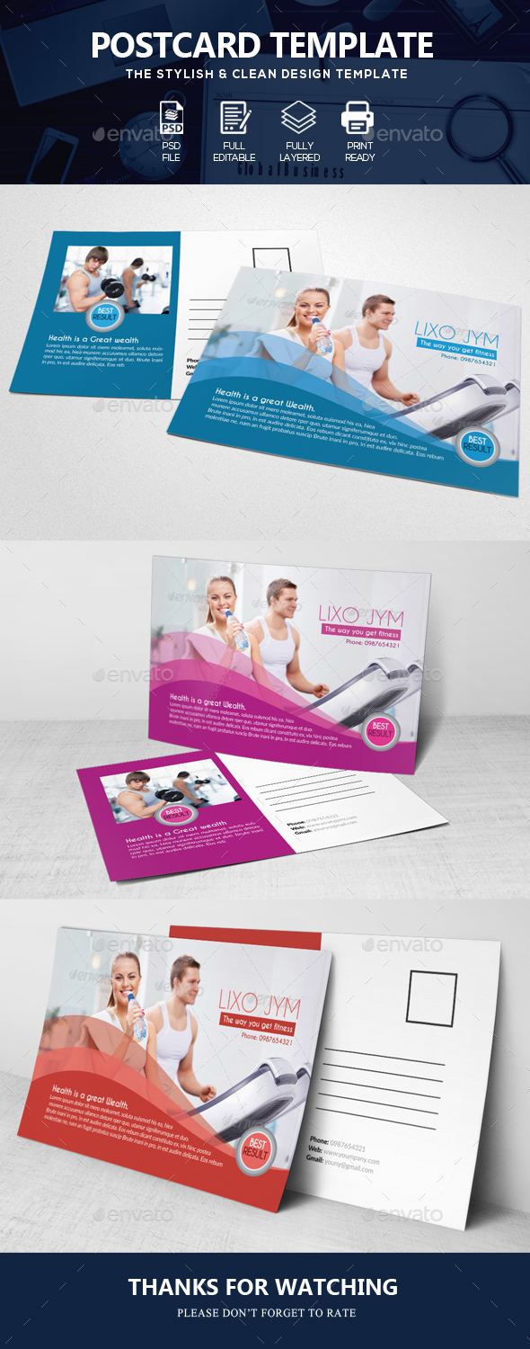 Body Fitness Club Post Cards - Cards & Invites Print Templates