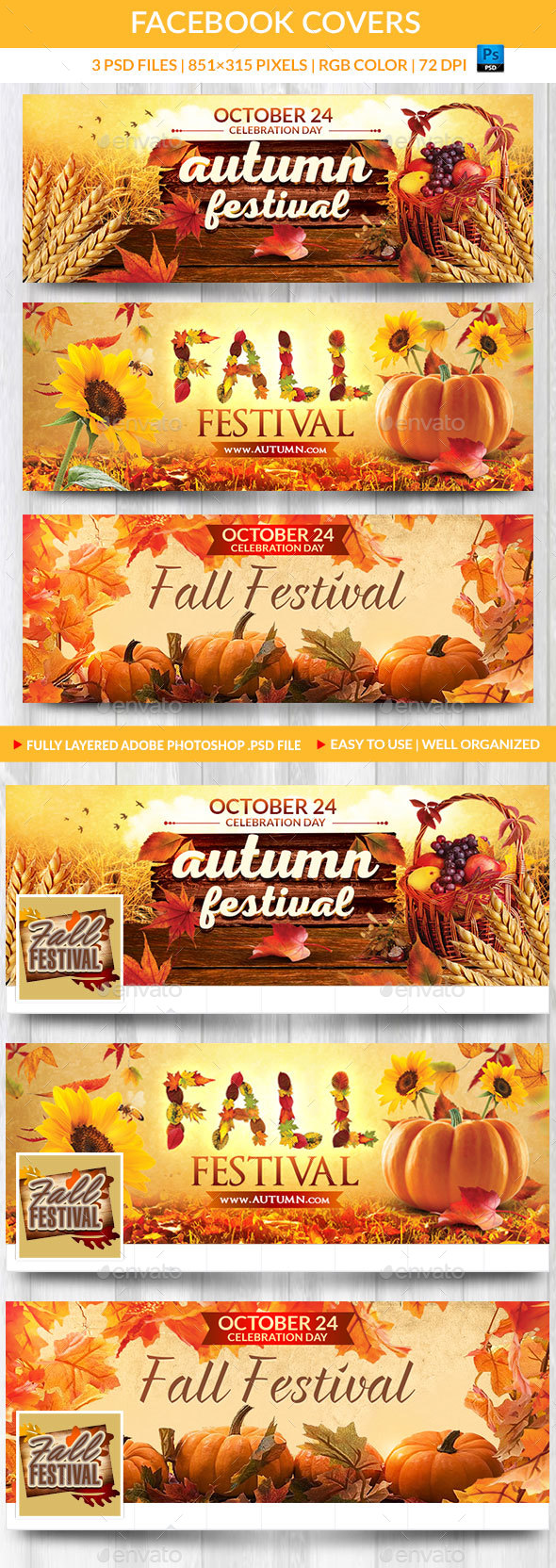 GraphicRiver Fall Festival Facebook Covers 20649270