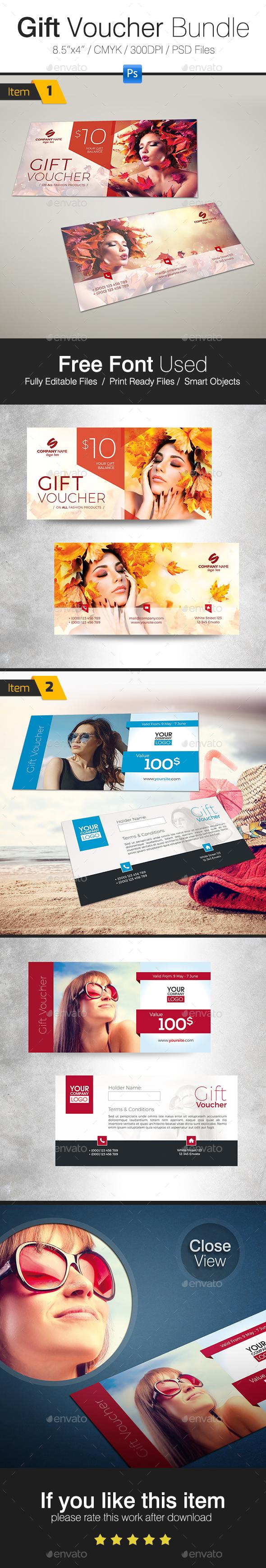 Seasonal Gift Voucher Bundle - Cards & Invites Print Templates