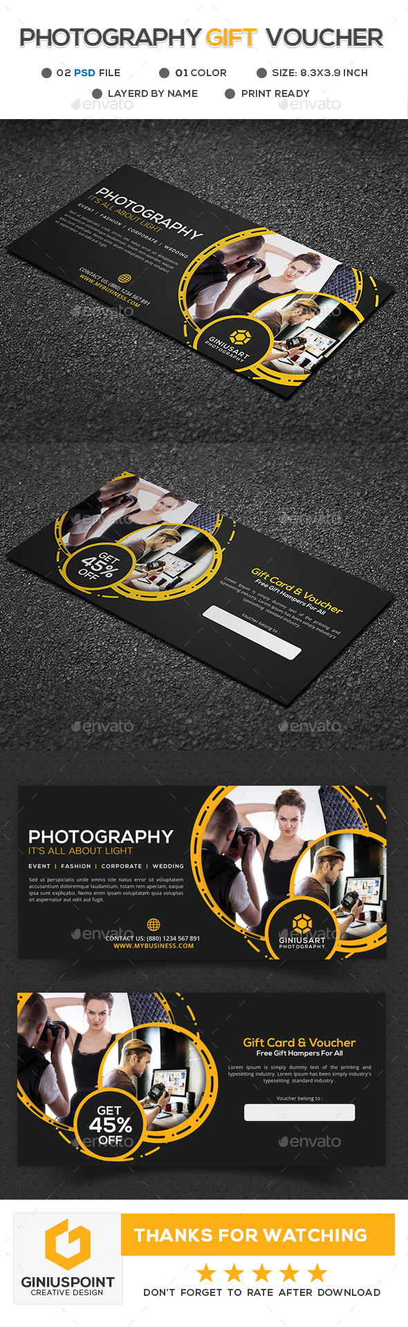Photography Gift Voucher - Cards & Invites Print Templates
