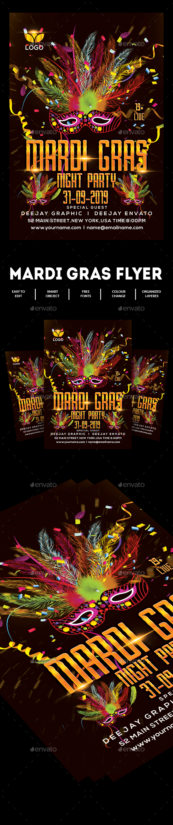 GraphicRiver Mardi Grass Flyer Template 20649446