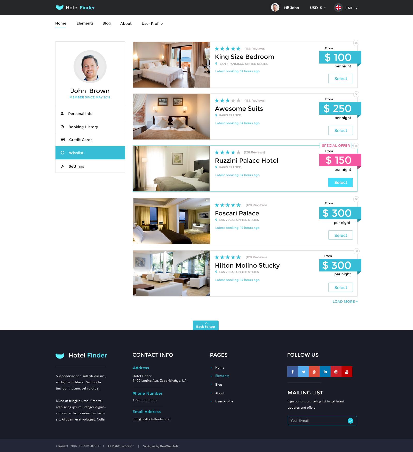 Hotel Finder - Online Booking HTML Website Template by bestwebsoft