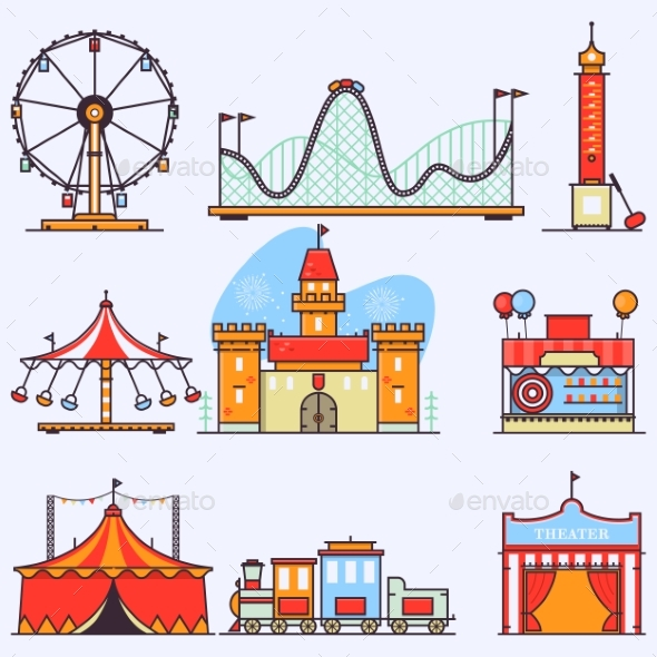 Amusement Park Vector Flat Elements Isolated - Miscellaneous Vectors