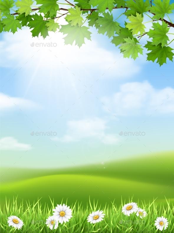GraphicRiver Autumn Landscape Grass Hill Maple Branch 20649595