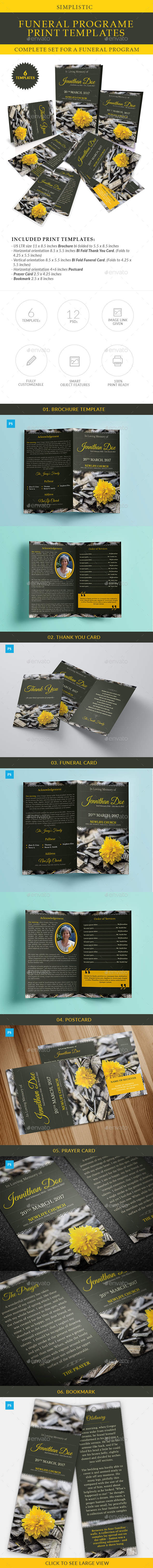 GraphicRiver Simplistic Funeral Program Print Templates Combo Set 20649991