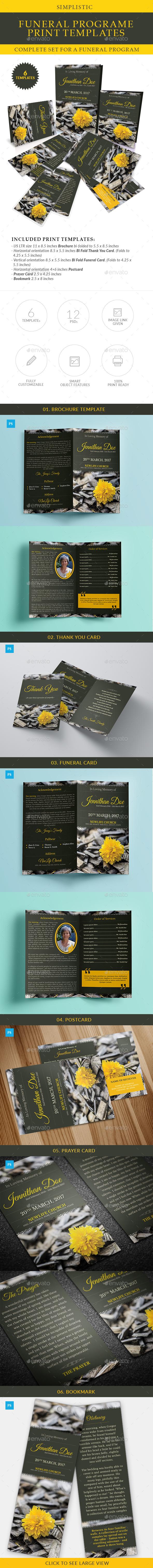 Simplistic Funeral Program Print Templates Combo Set - Miscellaneous Print Templates