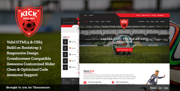 ThemeForest Kick Football Club HTML5 Template 20547387