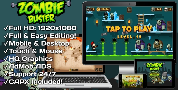 CodeCanyon Zombie Buster HTML5 Game 20 Levels & Mobile Version Construct-2 CAPX 20650523