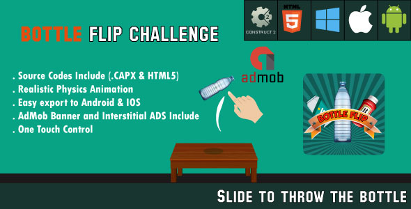 CodeCanyon Bottle Flip Challenge HTML5 Game Android & IOS & AdMob CAPX 20650760