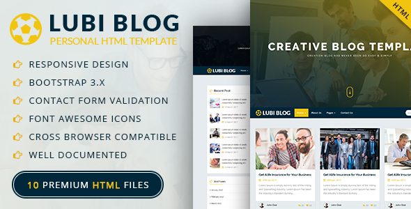 ThemeForest Lubi Personal Blog HTML Template 20650856
