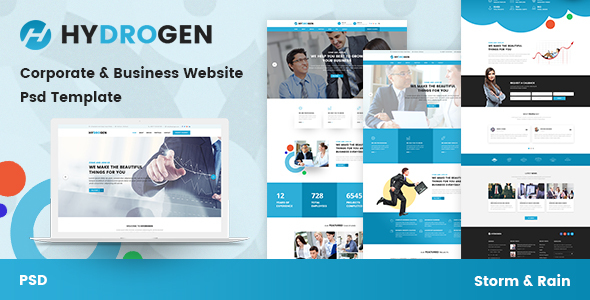 Hydrogen - Corporate & Business Website Psd Template - Business Corporate