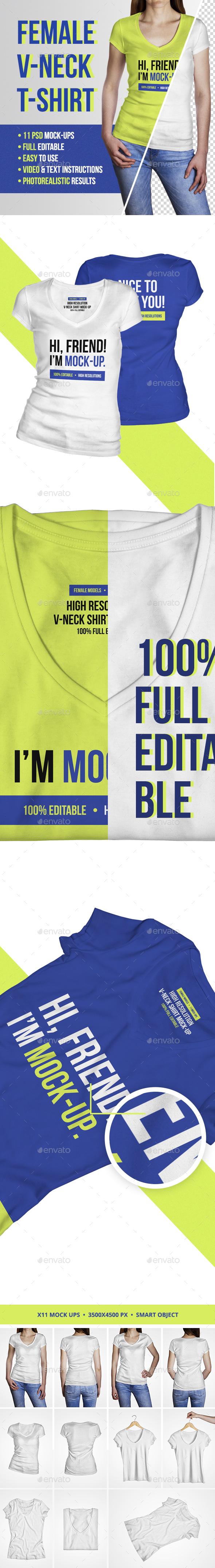 Female V Neck T-Shirt Mockup - T-shirts Apparel