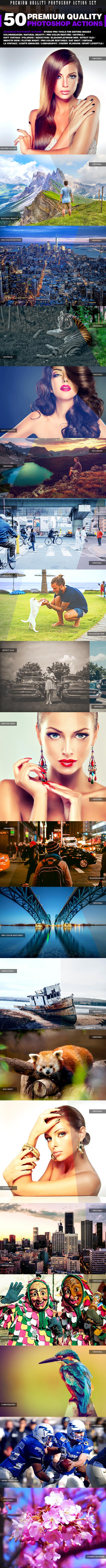 GraphicRiver 50 Premium Quality Photoshop Actions Set 20651085