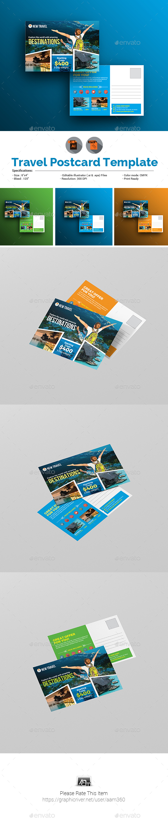 Holiday | Travel | Tour Postcard Template - Cards & Invites Print Templates